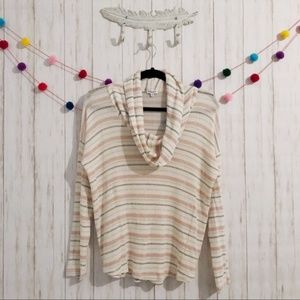 Splendid striped cowl neck sweater